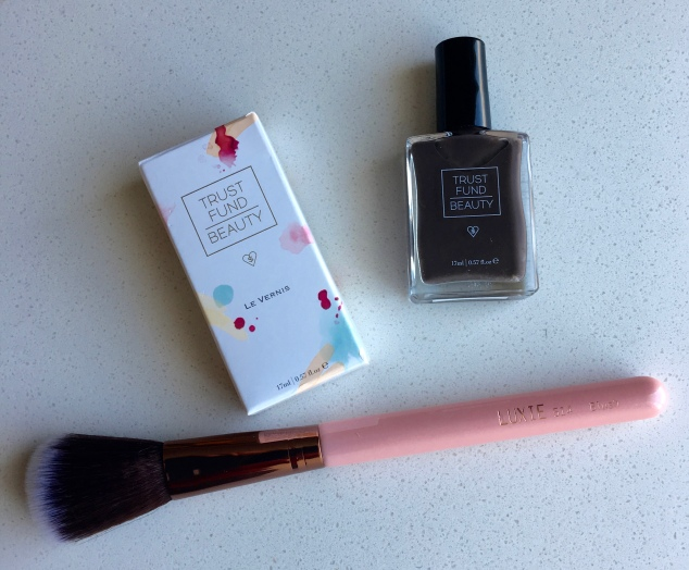 Trust Fund Beauty Nail Polish in $12 & Luxie Beauty Luxie Rose Gold Blush Brush 514