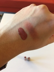 Swatch of Tarte Lip Paint In Delish and Doucce Freematic Eyeshadow in Marisa
