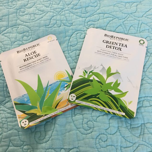 BioRepublic SkinCare Aloe Rescue Revitalizing Fiber Mask & Green Tea Detox Purifying Fiber Mask